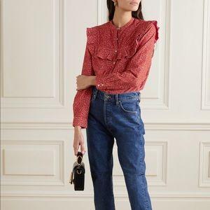 NWT DÔEN Austen ruffled cotton-corduroy blouse